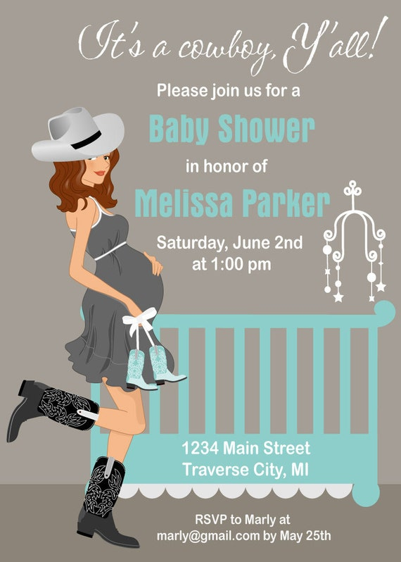 cowboy baby shower invitations country western theme for a boy