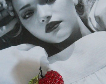 S A L E// Strawberry Pinup Rockabilly Brooch Pin Jewelry