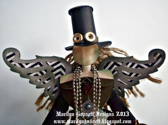 "9"" tall Steampunk style Angel, designed and handmade by shop owner.  Paper sculpture."