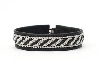 Striped sami bracelet black Leather from Sweden Lapland Reindeer Pewter  -Custom size