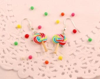 rainbow lollipop earrings - food jewelry