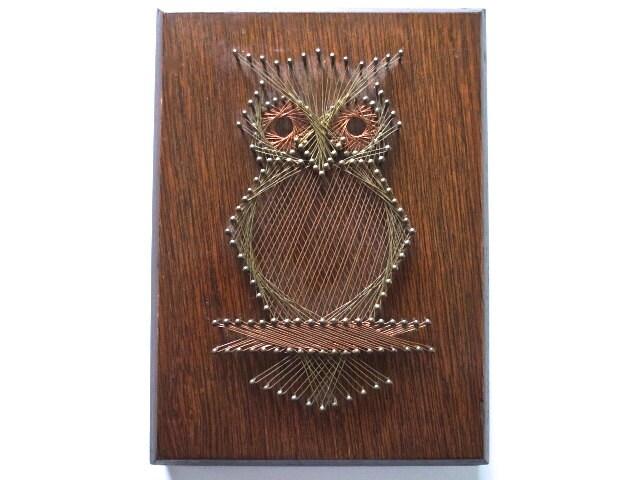 Metal Wall Decor Etsy : S metal string art owl wall decor on wood