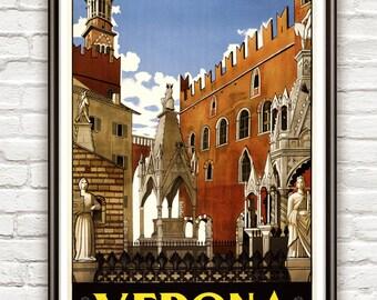 Vintage Poster of Verona Italy Italia  1930 Tourism poster travel