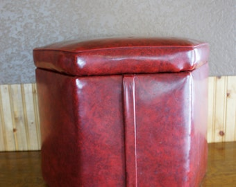 red vinyl ottoman with hinged padded lid  storage footstool hassock hexagon shaped