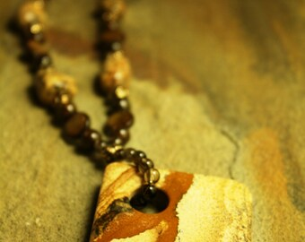 Picture jasper pendant necklace and earring set