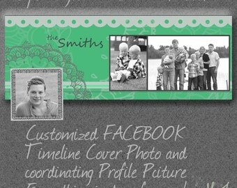 Custom Facebook Timeline Set with Cover Photo and Coordinating Profile Frame -Photoshop NOT needed