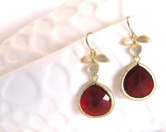 Garnet Red Earrings Gold Earrings gold Flower Blossom Crystal Jewelry Red Bridesmaid Earrings Crimson Red Wedding Garnet Earrings
