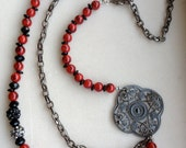 SALE SAVE 20% *** Asymmetrical Multi-Strand Red Beaded Necklace