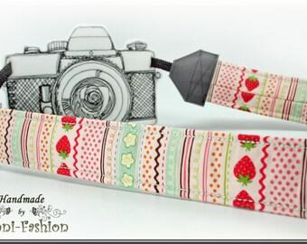 Camera strap, camerastrap, strawberry, DSLR