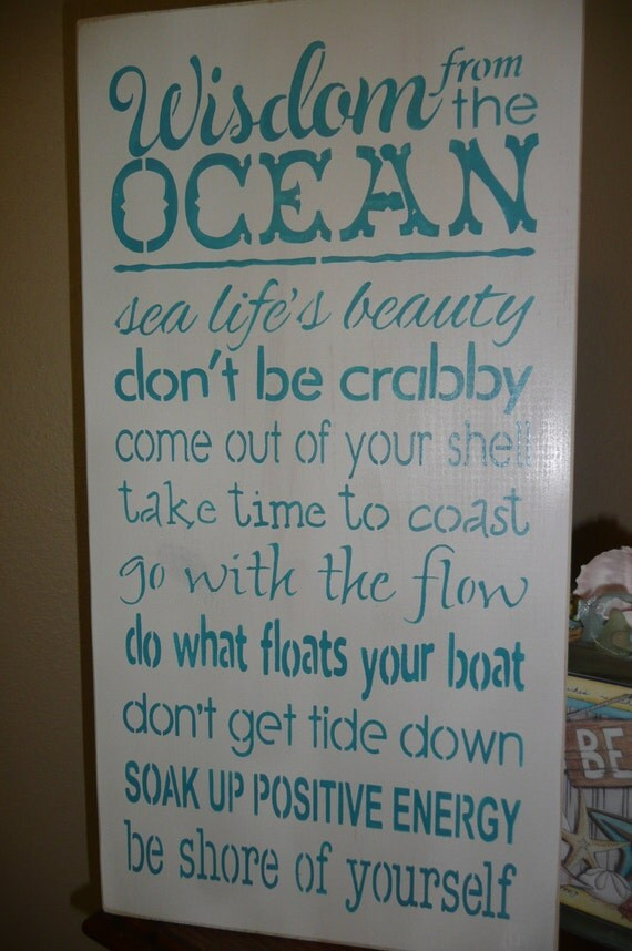 Painted wood sign wall decor ocean quotes sea inspiring unique