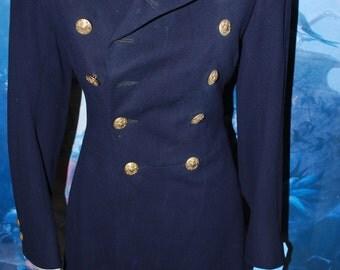1930's Navy Blue Vintage Military Coat Warner Bros Costume