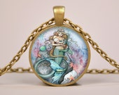 Mermaid Breast Feeding Baby Art Print Pendant Necklace or Keyring Glass Jewelry Charm Gifts for Her or Him  Child