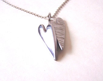 Double Heart Pendant and Necklace Made From Upcycled Stainless Steel Metal.