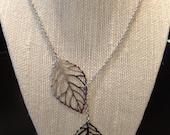 Silver Filigree Leaf Necklace, Adjustable length, Large