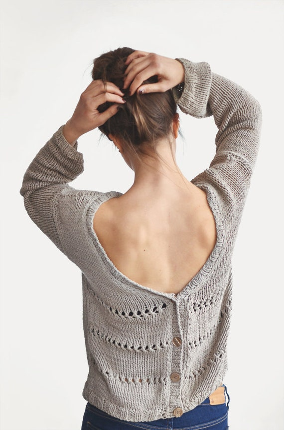 Hand Knit Open Back Sweater Winter Cotton Cardigan By Plexida