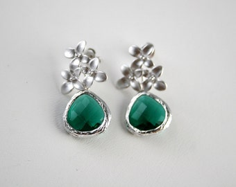 Cherry blossom earrings with Emerald green brioletts