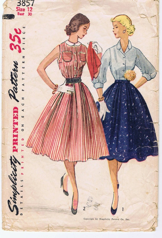 1950s Blouse and Full Skirt , Simplicity 3857 Size 12