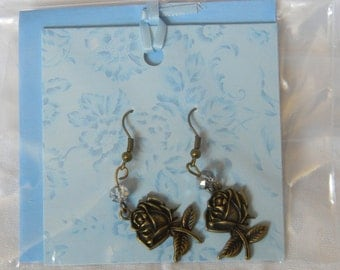 Bronze Rose Swarovski Dangle Earrings (E05)