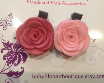 Baby Hair Clip, Baby Barrette, Flower Hair Clip, Girl Hair Clip, Toddler Hair Clip, Wool Felt Hair Clip, Flower Hair Clip -BL171