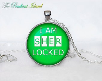 SHERLOCK HOLMES Pendant Sherlock Holmes Necklace Fantasy Green  White for him Art Gifts for Her for men