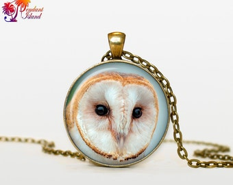 OWL Pendant   owl necklace White owl Jewelry Necklace for him  Art Gifts for Her for men Art Gifts (P10002)