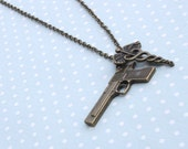 John Watson necklace - soldier and doctor necklace - caduceus and gun necklace