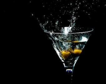 Martini and Olive Splash Photography, Wall Art, Green and Black, Kitchen Decor, Print, James Bond, Shaken not stirred