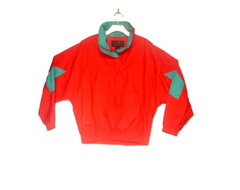 Vintage Colorblock Windreaker Ski Jacket Eddie Bauer Medium Red Teal