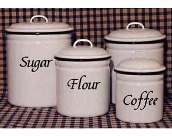 Kitchen Canister labels Decals Organization Storage