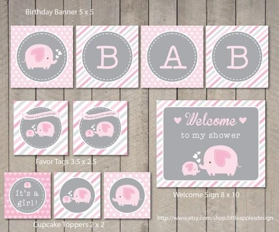 Paquete de ducha del bebé elefante / elefante rosa bebé ducha
