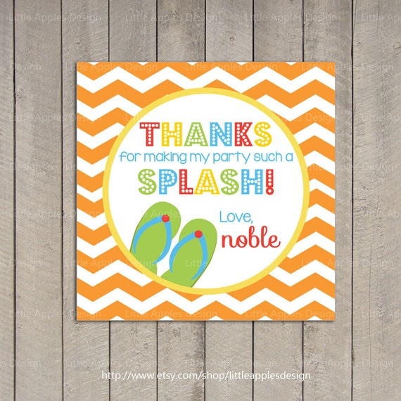 Kids Pool Party Favor Tags