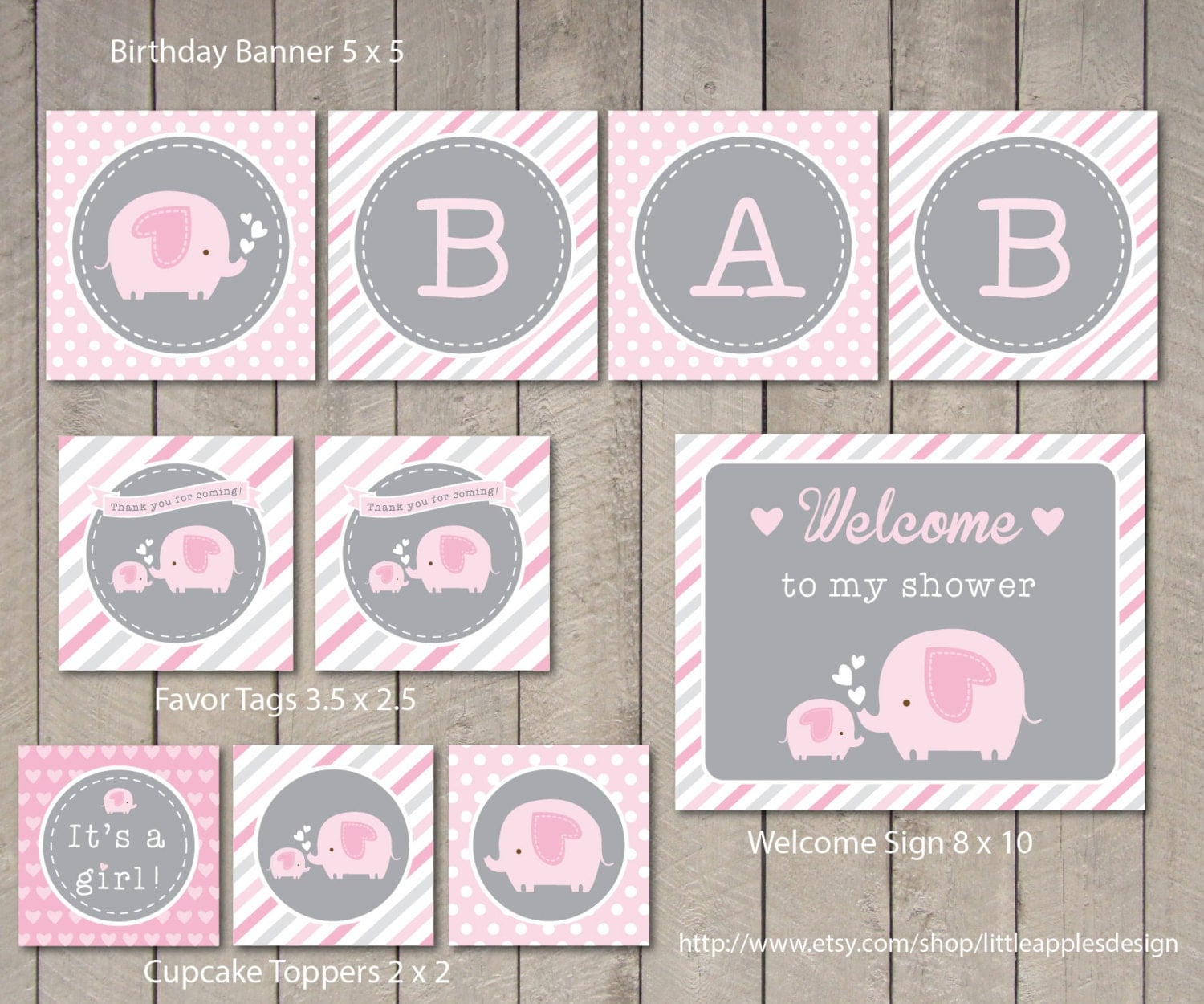 elephant baby shower package pink elephant baby shower pack