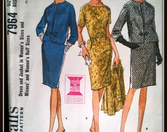 1965 McCall's 7964  Dress And Jacket  Size 16.5  Uncut