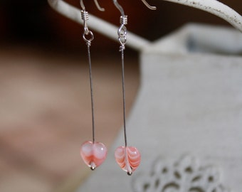 Valentine's Heart Dangle Earrings. Sterling Silver.