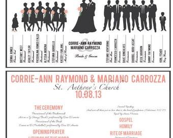 Custom, Printable Wedding Party Program Card - Double Sided