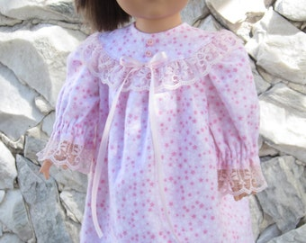 """Baby pink flannel nightgown with pink fuzzy slippers for an 18"""" doll."""