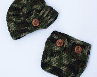 Camo Cadet Hat and Diaper Cover Set