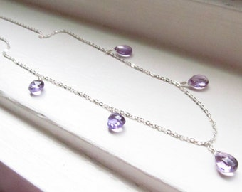 Amethyst necklace Feburary birthstone purple lilac briolettes silver gold simple delicate