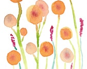 Apricot Flowers Watercolor, Original Floral Painting with shades of peach, yellow and pink, 7 by 5 in