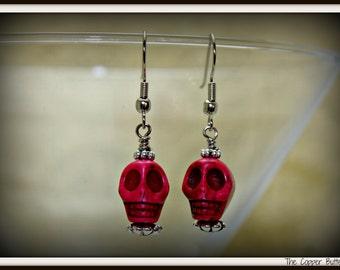 Head Case  - Day of The Dead - Raspberry Markesite Skull Earrings -6130050