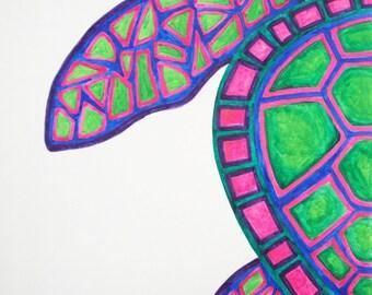 Original Sea Turtle Watercolor Painting, Ocean Wall Decor, Abstract Turtle, Sea Turtle Painting, Sea Turtle Art, Turtle Art, Beach Art