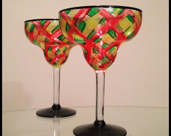 In stock. Hand painted margarita glasses. Price is for one.