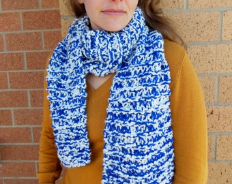 Royal Blue and White Thick and Chunky Team Spirit Scarves