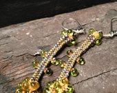 Gold, chartreuse and orange beaded drop earrings