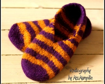 Felted Wool Slippers - Size US5/7 EU37/39, purple and yellow stripes, 100% virgin wool, knitted and felted