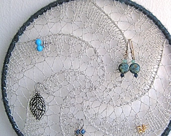 Earring Holder, Hanging Jewelry Organizer - Silver w/ Blue Shimmer Border
