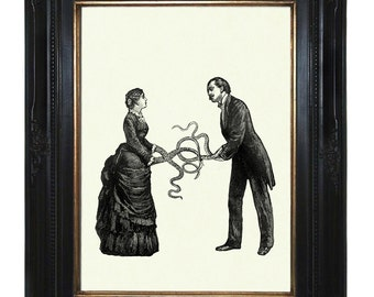 Valentine's Day Victorian Couple with Tentacle arms Octopus Kraken Lady Gentleman Steampunk art print
