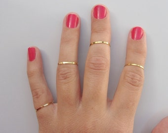 4 Above the Knuckle Rings - Plain Band Knuckle Rings, gold thin shiny rings - set of 4 midi rings, unique gift for her
