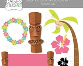 Summer Luau Digital Clip Art - INSTANT DOWNLOAD - Set of 6 Clip Art Elements - hibiscus, tiki, lei, palm tree graphics