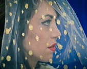 Wedding Headpiece -No. 4- Golden polka dot vintage veiling blusher veil